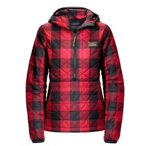 L.L. Bean red/black checkered pullover hoodie M